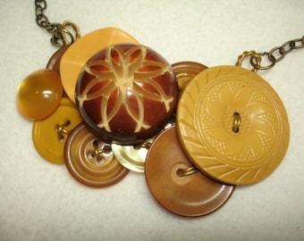 VINTAGE Button Necklace - BAKELITE - Vintage Carved Celluloid Flower Button-Cream Corn yellow - Brown- Golden Yellow -Vintage button Jewelry