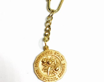 1982 Minnesota state key Chain, high school league, gold tone, Clearance Sale, Item No. M302