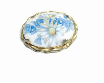 Porcelain Flower bROOCH, Hand Painted Flowers, Gold Tone, Victorian Flower Brooch, Clearance SALE,  Item no. B193