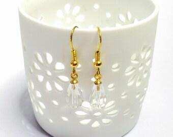Clear Crystal Earrings, tear drop, Vintage Gold Tone Dangling, Clearance Sale, Item No. B510