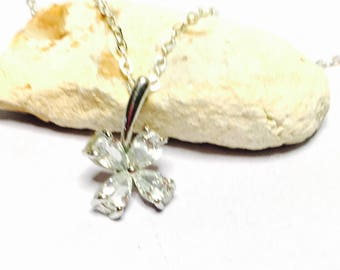 Vintage silver & clear CZ flower Pendant/Necklace, Clearance SALE, Item No. S002b