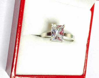 Vintage Solitaire Silver Ring Size 7.5, stamped .925, Clear C Z, Large Round Stone, Clearance S A L E, Item No. S171