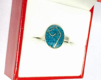 Vintage Turquoise Silver Ring size 6, Oval shape Stone, Native design, Item No. S174