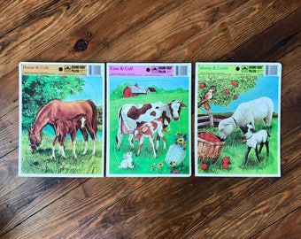 Vintage 80s 3 Set Farm Themed Frame-Tray Puzzles - Golden