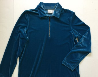 Blue Velvet Sweater top blue  velveteen jumper with collar - zip up diamante - long sleeve soft pullover-kitsch-turquoise -large