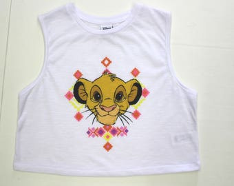 Simba The Lion King Crop Vest Top -Tank top retro -sleeveless -cotton -Hakuna Matata -Disney-Festival- 34 chest - Croped -small