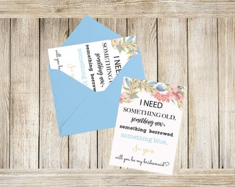 Bridesmaid Proposal Card, Will you Be My Bridesmaid Card/Maid of Honor/Matron of Honor/Flower Girl, Something Blue, Be my Bridesmaid Ideas