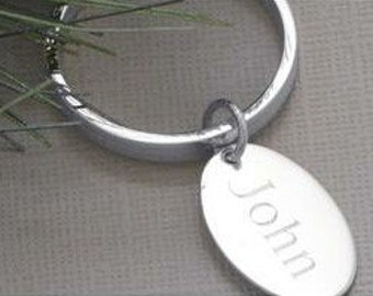 Groomsmen Sterling Silver Key Ring with Oval ENGRAVABLE Tag