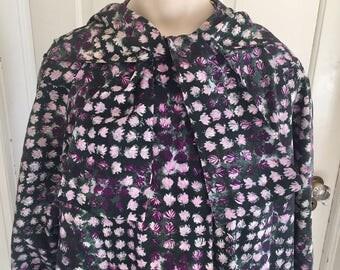 Vintage 1960s Misses' Purple Floral Hooded Raincoat Jacket 14 16 18 1X