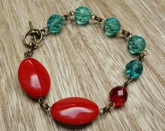 IN THE RED glass beaded bracelet brass jewelry