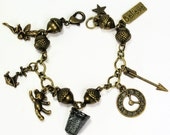Peter Pan Acorn and Thimble Lost Boys and Peter Pan and Wendy Charm Bracelet III in Antiqued Brass 7 Hidden Kisses