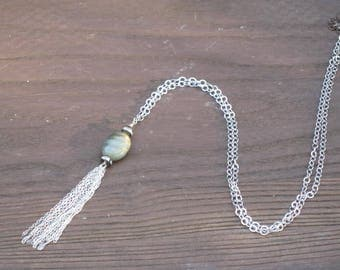 Lustrous labradorite with rhinestones and silver chain fringe