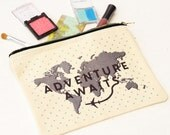 World Map Make Up Bag Adventure Awaits Travel Quote Wanderlust Cosmetic Bag Leaving Gift Travel Gift Make Up Bag World Map Pouch