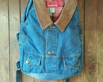Denim backpack /Jeans backpack / Ladies backpack / Denim backpack handmade / Denim Backpack Upcycled Denim Jacket