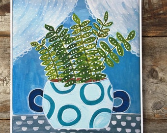 Fern in Turquoise Vase Archival Giclee Print of Gouache Painting