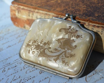 Antique French purse, vintage inlayed celuloid purses, Antique change purse