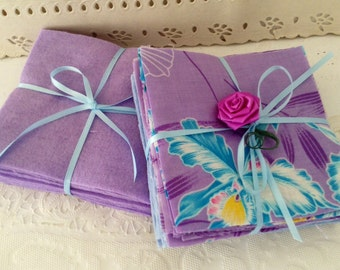 """Pre-cut Squares - Flannel - 4"""" - Charm Pack - 73 squares - baby quilt kit - Baby Blue, lavender & Hawaiian print squares - baby shower"""