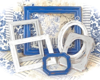THREE COLOR SET Nautical Blue Winter White Driftwood Gray Vintage Ornate Carved Fancy Picture Photo Frames 6 Cottage Chic Ready To Ship