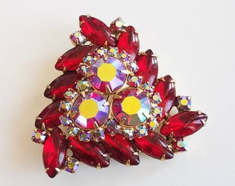 Vintage Weiss Brooch, Red and AB Rhinestones, Vintage Pin, Signed