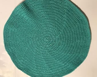 handmade crochet turquoise rug made with t-shirt yarn with anti-slid back