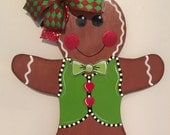 Gingerbread Door Hanger, Christmas Door Hanger, Gingerbread Man, Wood Door Sign, Gingerbread