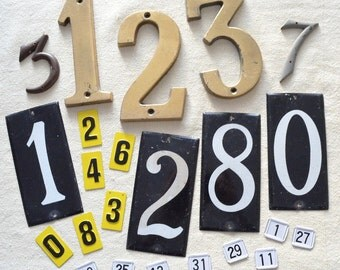 Vintage Metal Numbers, Mixed Lot of 23 Brass and Aluminum Numbers