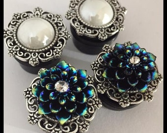 2 PAIRS Blue Lotus White Pearl Girly Ear Guages Plugs