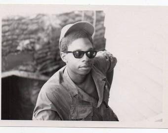 Vintage Snapshot Soldier Wearing Sunglasses Military Memorabilia Black And White Photo Mid Century Modern Photograph