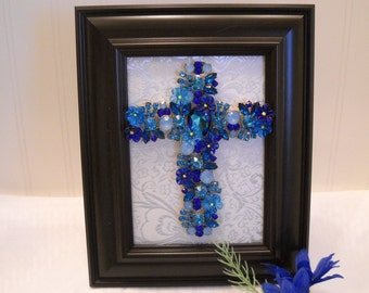 "Framed Jewelry  Cross  ""Blue Guardian Cross "" - Gorgeous Crystal/Rhinestone  Arrangement"