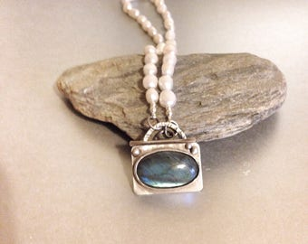 Pearl Necklace and Labradorite Necklace - Toggle Clasp Pendant - Artisan Necklace
