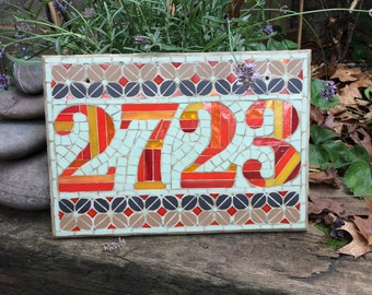 Mosaic house number template 8