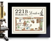 221 Baker Street 11x14 Print Sherlock Fan English Artwork London England British Bar Sign Sherlock Holmes Great Britain Mystery Detective