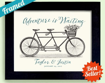 Wedding Gift Adventure Awaits for Newlywed Couple Wedding Sign Personalized Wedding Unique Engagement Gift Tandem Bicycle Framed Art Print