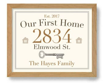 Our First Home Sign Family Name Wall Art Print Realtor Gift Housewarming Gift Street Address Sign Welcome Gift New House Gift New Homeowner