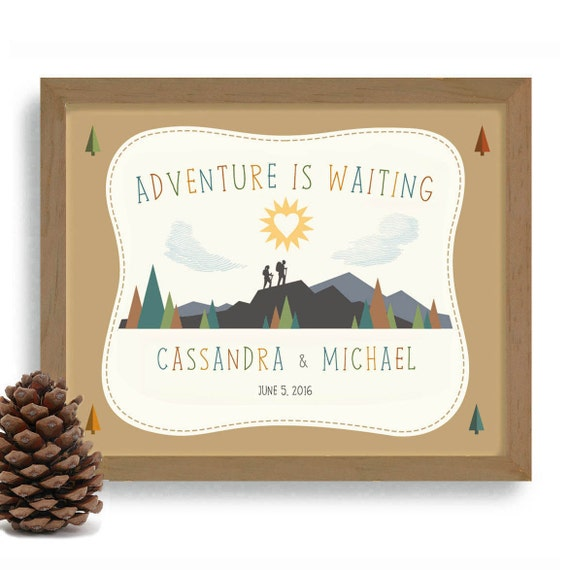 Wedding Gift Ideas For Outdoorsy Couple : Gift Adventurous Couple Personalized Wedding Gift Hiking Art Outdoorsy ...