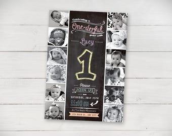 The First Year 1st Birthday Invitation (Unisex) Chalk - Digital File