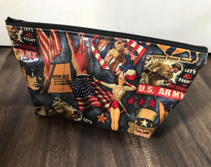 Handmade Retro US Army Large Makeup Bag