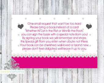 Book Insert | Baby Shower Book Raffle | Bring a Book Card | Books for Baby | Book Request | Book Raffle | Heart of Love Baby Shower