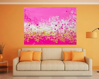 Fuschia Abstract Painting, Vibrant Pink Abstract, Large Art, Wall Art,  Canvas Artwork
