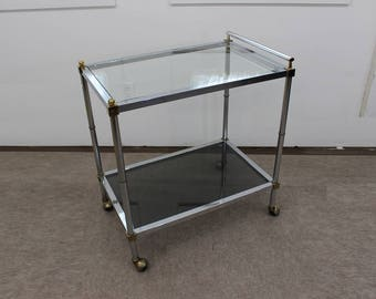 Mid Century Modern chrome, brass and glass tea / bar cart