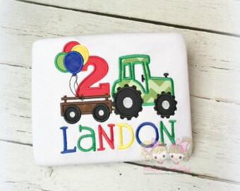 Birthday tractor shirt with balloons- green tractor birthday shirt- tractor birthday shirt for boys- 1st birthday embroidered shirt for boys