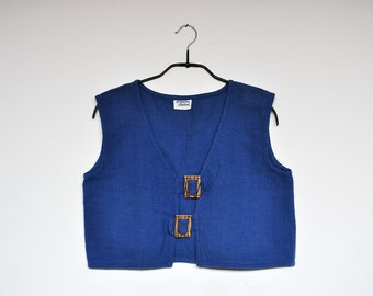 Vintage Royal Blue Organic Cotton Linen Cropped Cardigan Vest Large Wooden Cinch Buttons Detail