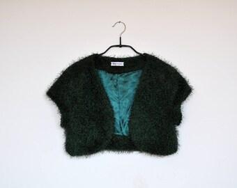 Vintage Emerald Green Fuzzy Cardigan Bolero Jacket