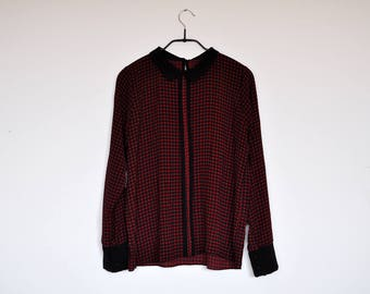 Vintage Semi Sheer Black and Red Plaid Peter Pan Collar Blouse Preppy Long Sleeve Top