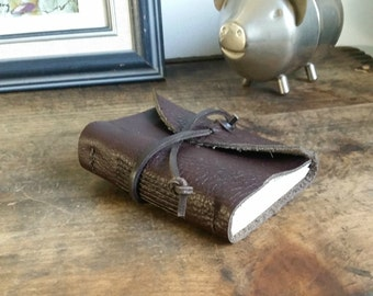 Handmade Leather Journal, Chocolate Brown 3 x 4.5 Leather Journal by The Orange Windmill on Etsy 1652