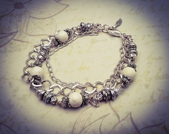 White Turquoise Natural Gemstone Bead Silver Plated Layered Boho Chain Bracelet - [B19]