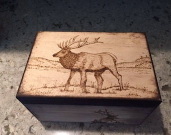 Elk Wood Burned Box, Country Home Decor, Cabin Home Decor, Elk, Wooden Boxes