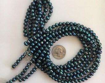 Bead Destash, Dark Teal Fresh Water Pearls