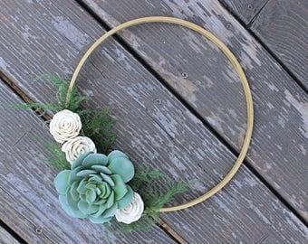 Artificial Succulent Sola Flower Wreath, Modern Home Decor, Gold Hoop Wreath, Faux Succulents, House Warming Gift, Wedding Decor