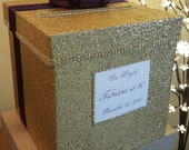 Gold glitter card box for a wedding baby shower bridal shower or birthday party